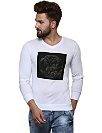 STRAK Men's Cotton Geometric Print White T-Shirt