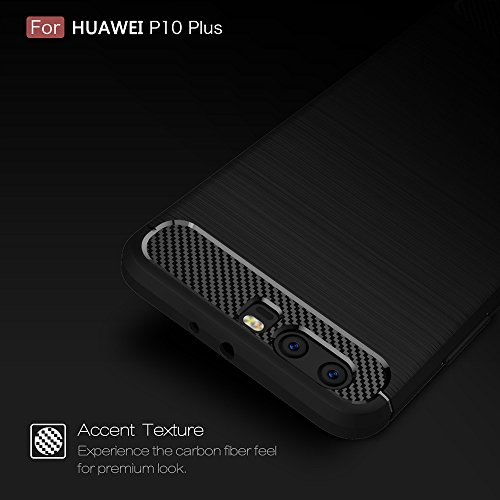 EKINHUI Case Cover Brushed Carbon Fibre Rugged Armor Stoßstange Fall Stoßdämpfer Drop Resistance Shell Back Cover für Huawei P10 Plus ( Color : Black ) Gray