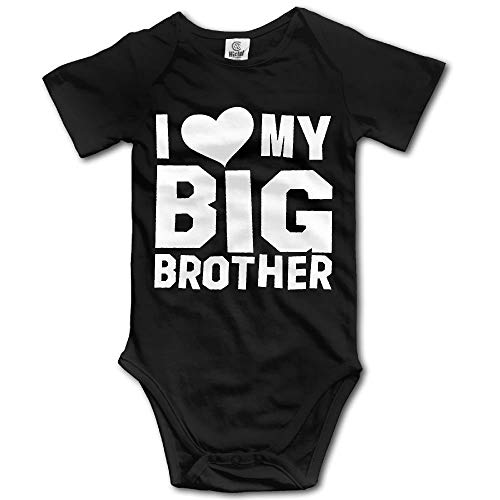 I Love My Big Brother Newborn Babys Boy's & Girl's Short Sleeve Baby Climbing Clothes for Black 0-3M -