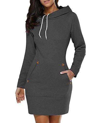 BIUBIU Damen Mode Hoodie mit Zip Langarm Pullover Jumper Pulli Sweatshirt Jumper Dunkelgrau DE 38 / Herstellergröße L (Baumwoll-kleid Perfekte)