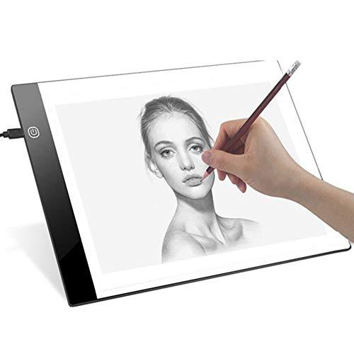 nulala A4 LED Copy Board Super dünne LED-Skizzenkarte Zeichnungsauflage-Leerkasten-Kopierkunst-Grafik-Malbrett (Three-Level Dimming)