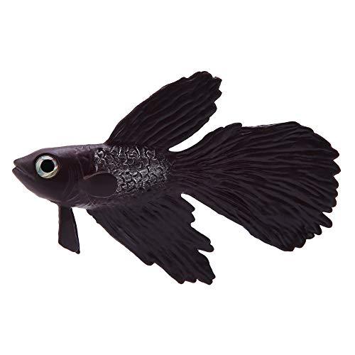 Pssopp Künstliche Fische Silikon Fische Silikon Goldfisch Betta Fisch Lebensechte Künstliche Fische Ornament Schwimmende Fische Aquarium Dekoration Künstliche Bunte Fische (Brauner Betta Fisch)