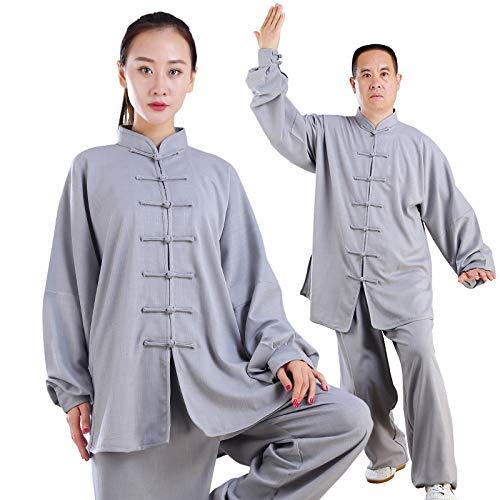 Leichte Uniform (Tai Chi Shirt Kragen Langarm Taiji Anzug Baumwolle (Leicht) Kung Fu Kampfsport Tai Chi Anzug Kung Fu Uniformen Unisex,Grey-L)