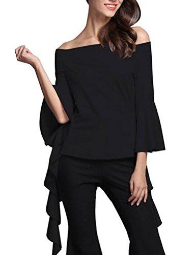 SunIfSnow - T-Shirt à manches longues - Trapèze - Uni - Manches Longues - Femme Noir