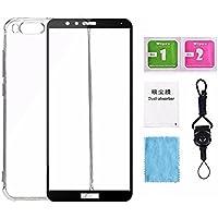 [Kit de protection d'écran] Huawei honneur 7x Full protection d'écran en verre trempé, gratuitement un clair TPU Coque arrière + Laneyard inclus