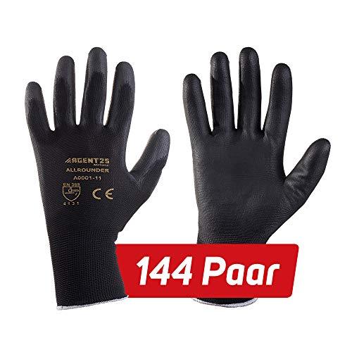 144 Paar AGENT25 Montagehandschuhe Arbeitshandschuhe Gartenhandschuhe Gr. 6-12 Schutzhandschuhe gegen mechanische Risiken (Pu, 10)