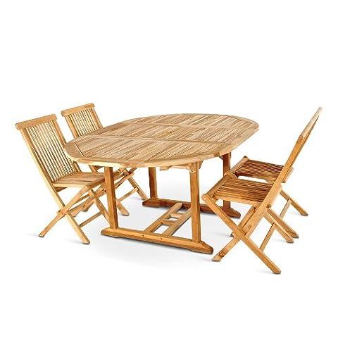 SAM® Teak-Holz Gartengruppe Borneo, 5 teilig, Garten-Möbel aus Massiv-Holz, 1 x Ausziehtisch, 4 x Klapp-Stuhl Menorca aus Hartholz ohne Armlehnen, Garten-Tisch und