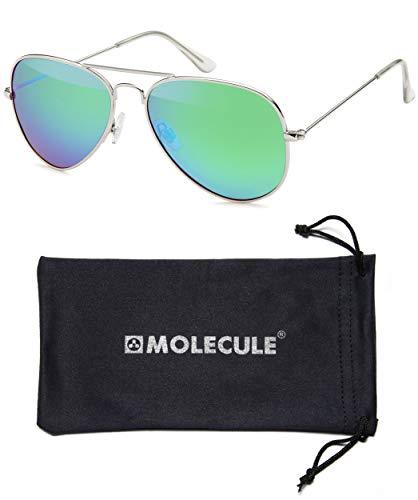 MOLECULE UV400 Polarisierte Sonnenbrille für Damen & Herren Pilotenbrille Fliegerbrille aus Edelstahl + Mikrofaser Etui (Grün-Blau-Violett (Rahmen: Silber))