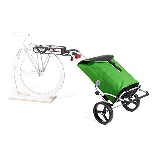 Andersen Spar Set Einkaufstrolly Royal XXL mit Fahrrad Anhängerkupplung für Gepäckträger & Einkaufstasche Floyd Grün