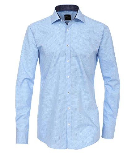 Venti - Slim Fit - Herren Langarm Hemd mit Kent Kragen und Print Muster in Blautönen (162568500 A) Blau (101)