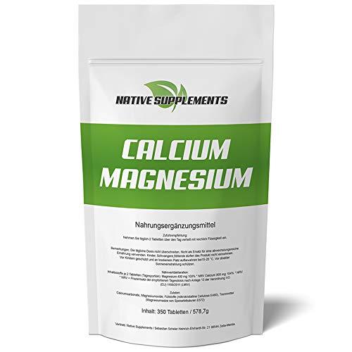 350 Tabletten Calcium & Magnesium, 1200mg Komplex/Tagesdosis, Extra Rein, Hochdosiert und für Veganer geeignet, Kalzium Pharmaqualität - Natürliche Kalzium