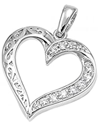 925 Sterling Silver Heart Shaped Pendant With Cubic Zirconia
