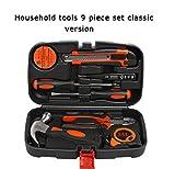 PYXZQW Werkzeugset 9-teiliges Haushaltswerkzeugset mit Hammerzange und Werkzeugkasten für das Auto nach Hause