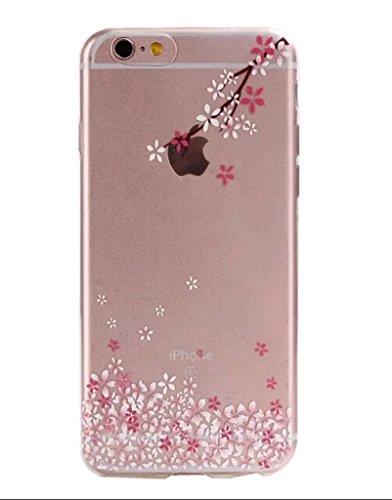 Cover trasparente nnopbeclik® Silicone trasparente Glitter per iPhone 6Plus 6S Plus Case, Cover ultra slim soft TPU lusso stampa bello, motivo floreale lucido cristallo animali protective parte super Blume H