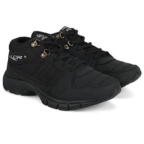 Lancer Black Mesh Solid Running Shoes for Men  available at amazon for Rs.399