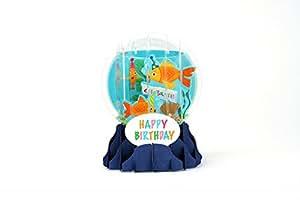 Boule à neige 3D Pop Up Carte d'anniversaire Motif poisson rouge