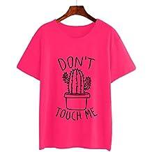 Mujer Camiseta De Verano,Zilosconcy Camiseta con Estampado Manga Corta De Cactus De Moda T