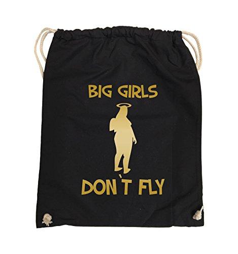 Comedy Bags - BIG GIRLS DON'T FLY - Turnbeutel - 37x46cm - Farbe: Schwarz / Silber Schwarz / Gold