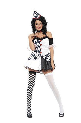 Damen Harlekin weiblich Kostüm für Clown Circus Hofnarr Kostüm Outfit ()