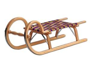 Ress Luge traditionnelle 100 cm avec assise tressée, fabrication allemande Laqué Bois naturel