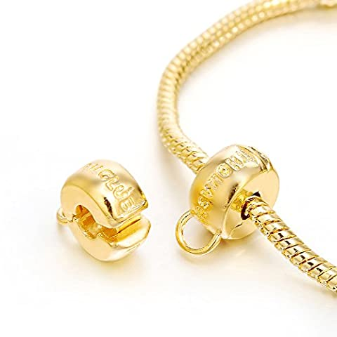 RUBYCA 40pcs Gold Color Clip Lock Stopper Clasp Beads DIY