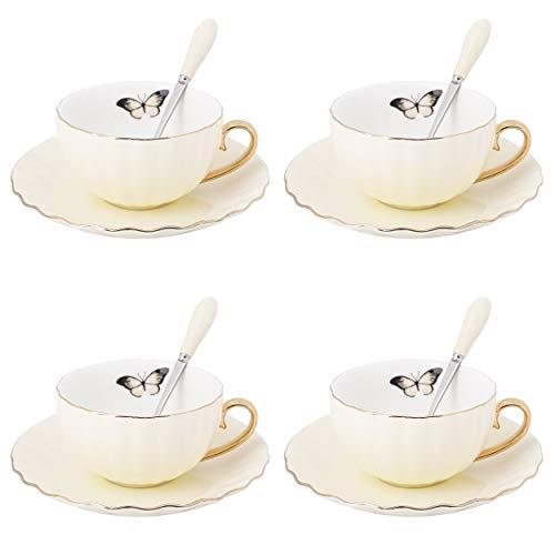 Artvigor, 12 tlg. Porzellan Kaffee Set, Kaffeeservice, mit je 4 Kaffeetassen 180 ml, Löffel und...