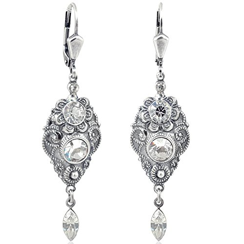 Jugendstil Ohrringe mit Kristallen von Swarovski Silber Grau NOBEL SCHMUCK