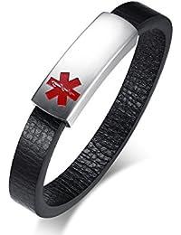 Vnox Hombre de Cuero Genuino de Cuero Genuino Personalizado Etiqueta de Identificación Pulsera de Alerta Médica Sos Emergencia,Grabado Libre