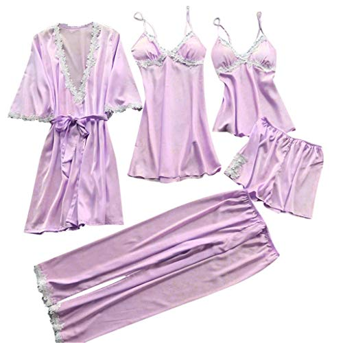 Sleepshirts Frauen Nachthemden, QinMM 5Pcs Sexy Pyjamas für Frauen Silky Sets Silk Satin Lace Nachtwäsche Schwarz Strap Kleid Robe Shorts & Pants Home Wear - Lace Baby Doll Camisole