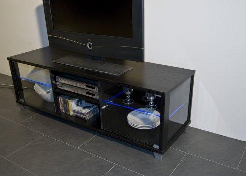 TV-BANK / Fernseh-Schrank / Sideboard in Escheoptik schwarz inkl. LED-Beleuchtung blau – B 140 cm - 4