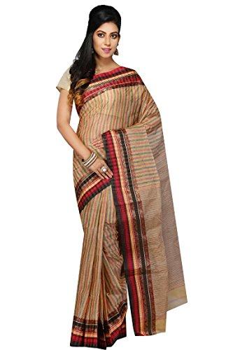 Madhushree Handloom Cotton Tant Saree, Traditional Bengali Wear (Multicolour)