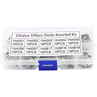 Kit surtido de diodos 10value 100pcs, Kit electrónico profesional 100pcs 10Values Rectifier Diode Surtido 1N4001~1N4007 1N5817~1N5819 con caja