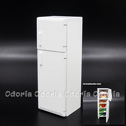 Preisvergleich Produktbild Odoria 1/12 Miniatur 2-Türer Kühlschrank Weiß Holz Puppenhaus Möbel Zubehör