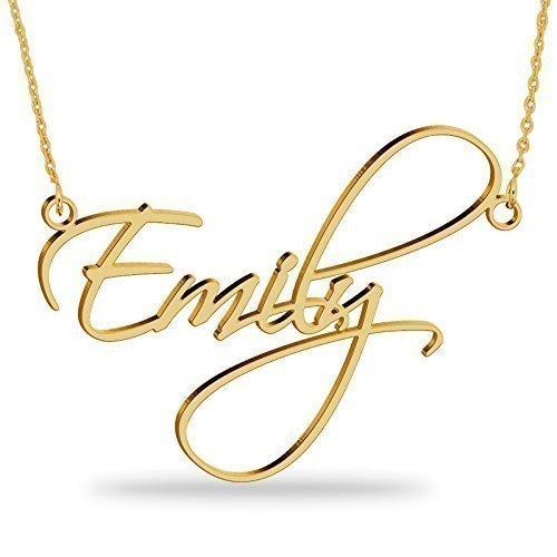 Namenskette Gold aus 750er vergoldetem 925er Silber -Personalisiert mit Ihrem eigenen Wunschnamen! (Personalisierte Gold-halskette)