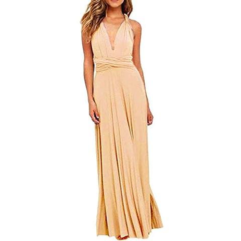 Kinikiss Women Sleeveless Evening Dress Polyester Apricot High Waist Convertible Multiway Wrap Bridesmaid Formal Long Dresses (L)