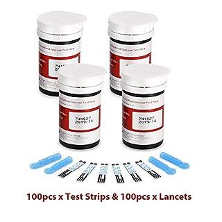 Diabetes Strips Blood Glucose Codefree Test Strips with Diabetes Lancets 100pcs for UK Diabetics - in mmol/L (AQ Smart)