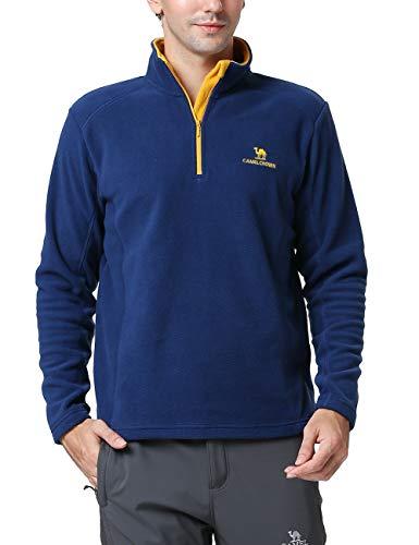 Camel Herren Sweatshirt Half Zip Fleece Langärmlig Ski Shirt Marine S