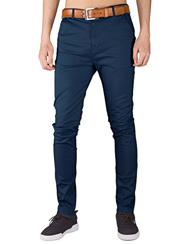 Italy Morn Herren Chino Hose Slim fit Stoff hose Chinohose Pants 2XL Marine Blau (Klassische Stretch-hosen)