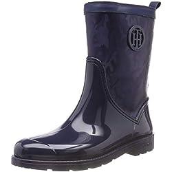 Tommy Hilfiger Shiny Camo Rain Boot, Botas de Agua para Mujer, Azul (Tommy Navy 406), 38 EU