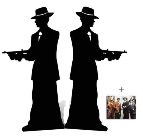 Gangster Silhouette (Doppelt Packung) Lebensgrosse Pappaufsteller mit 25cm x 20cm foto (Gangsters)