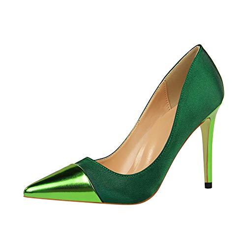 Lxmhz Frauen Ankle Strap Satin Dress Pumps Pointed Toe High Heel Evening Prom Wedding Schuhe geeignet für Büros, Arbeit, Bankette, Partys, Clubs,1,US7.5/EU38/UK5.5 Satin Ankle Strap High Heel