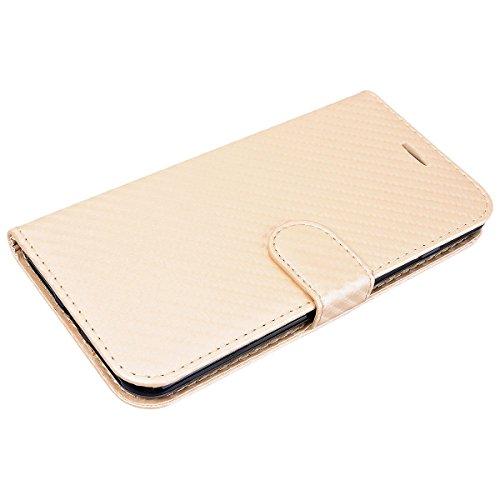 WE LOVE CASE Coque iPhone 8 Plus, Housse en Cuir a Rabat de Protection Étui iPhone 8 Plus Portefeuille, Coque avec Rabat Personnalise Fonction Support Stand Fente Carte et Magnétique Fermeture Stitch  Or