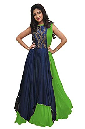 Rudra Zone Women's Banglory Gown With Jacket Gown for Party Wear Dress(SKY) (Green)
