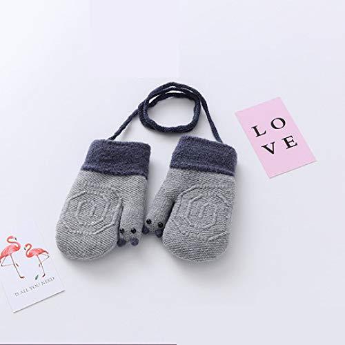 SUNHAO Kinder Handschuhe Winter warme Handschuhe niedlichen Baby-Hals mit Seil Jungen und Mädchen sowie Dicke Samthandschuhe (Baby-jungen-seil)