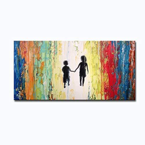 RALCAN Handgemalte Abstrakte Leinwand Ölgemälde Moderne Liebhaber Mit Regenschirm Kunstwerk Wandbild Für Wohnzimmer Wanddekor Kunst-100X180cm(40X72Inch)