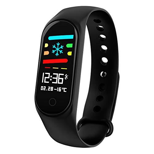 Fuibo Smartwatch Fitness Tracker, 2018 Sportblutdrucksauerstoff-Herzfrequenz-Fitness-Smart-Uhrenarmband Sportuhr Armband für Frauen Männer (Schwarz)
