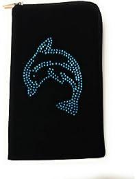 36770c57dbf37 Reissverschluss Handytasche Softcase schwarz mit Strass Motiv