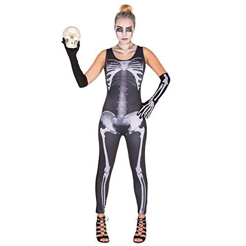 Dressforfun costume da donna - tuta scheletro sexy | moderna tuta intera | gamba lunga | lunghi guanti a manicotto (l | no. 300143)