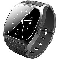 Bluetooth Smart Watch orologio da polso, Ailina Smartwatch con touch screen LED luce quadrante SMS ricordare lettore musicale pedometro per IOS Android Samsung telefono nero Black