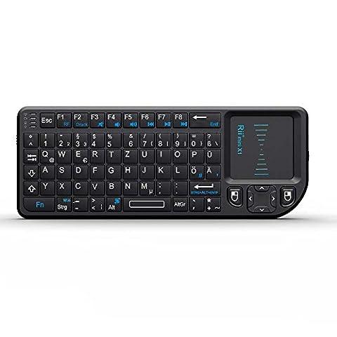Rii Mini K01X1 2.4GHz Wireless Tastatur mit Touchpad-Maus für PC, PAD, XBox 360, PS3, Google Android TV Box, HTPC, IPTV,De Layout